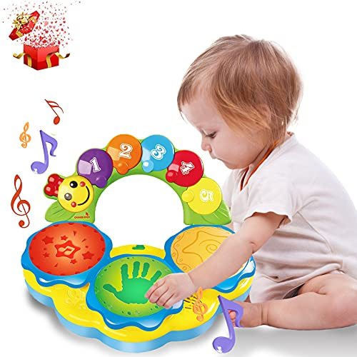 Portable Musical Drums Piano Musical Instrument Baby Toys 6 to 12 Months baby toys for 12 18 month Early Education Music/Lights/Funny Sounds Gifts Toys for 1 2 3 4 Year Old Boys Girls Toddlers Kids