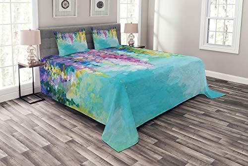 ABAKUHAUS Blume Tagesdecke Set, Inspiring Landschaft Frühling, Set mit Kissenbezügen Maschienenwaschbar, für Doppelbetten 220 x 220 cm, Multicolor