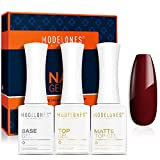 Matte Gel Top Coat,No Wipe Gel Top and Base Coat,Matte Top Coat, 3 X 10 ML Soak Off LED Gel Nail Polish, High Gloss Shiny Matte Gel Polish Effects for Home Use