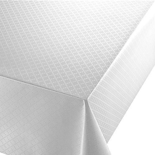DecoHomeTextil Wachstuch Diamant Relief Weiss Breite & Länge wählbar abwaschbare Tischdecke Eckig 120 x 170 cm
