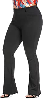 Women's Stretch Pull-on Dress Pants Plus Size Wrinkle-Free Ease into Comfort Office Ponte Pants