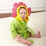 FEIYI Talla M 2-3 años, diseño de búho de tiburón con capucha, para bebés y niños pequeños, toalla de bebé de dibujos animados, bata de baño (color: girasol)