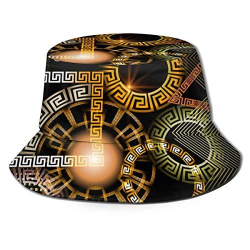 Out GuoAiYunShop Geométrico Brillante 3D Vector Griego Patrón sin costuras (2) Sombrero pescador Sombreros Verano Plegable Gorra para Hombres Mujeres Negro