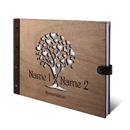 Lasergeschnittenes Gästebuch Okoume Holz Gravur individuell Holzcover mit Echtleder Rücken 72 Blatt | 144 Seiten A4 quer 302x215mm - Herzbaum