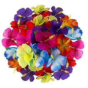 BESTOYARD Hawaii Hibiscus Flower Fabric Artificial Tropical Flower for Tabletop Decoration Table Confetti Party Favors Supplies Jungle Party Beach Wedding Decor 72pcs Random Color