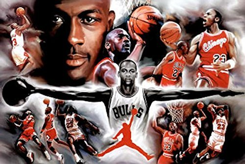 Buyartforless Michael Jordan - Collage Open Arms 36x24 Sports Art Print Poster Superstar Legend