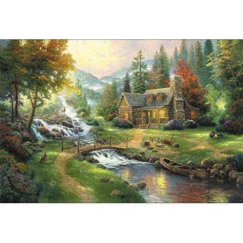 Puzzle House- Basswood Jigsaw Puzzle, Cottage On Riverside por Thomas, Cut & Fit, 300/500/1000/1500/2000/2700/3000/5000 Piezas Rompecabezas en Caja Juguetes Juego Arte Pintura para Adultos y n