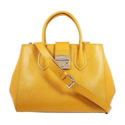 Furla Metropolis 978102 Damen-Handtasche aus Ginestra-Leder, mittelgroß, Gelb