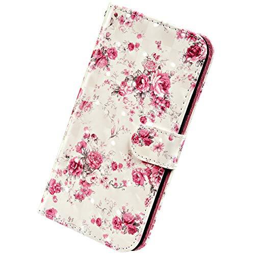 Herbests Kompatibel mit Samsung Galaxy A20 / A30 Handyhülle Handytasche Leder Hülle 3D Bunt Glitzer Bling Glänzend Muster Leder Schutzhülle Flip Case Brieftasche Wallet Tasche,Rose Flower