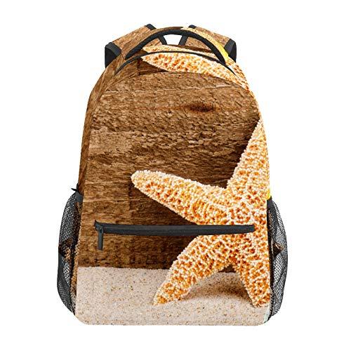 Mochila escolar Verano Arena Madera Starfish Shell Estudiante Viaje Senderismo Camping Daypack Casual Libro Bolsas Bolsa de Hombro
