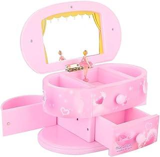 Sinctual Musical Jewelry Box, Dancing Ballerina Music Box, Jewelry Box Music Storage Case with Mirror Birthday/Christmas/