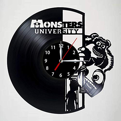 LJJYF Monsters University Round 12-Zoll-Vinyl-Schallplatte Black Wall Clock @ A1,Wanduhr Kinderuhr