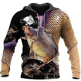 Linnhorr Sweat-Shirt décontracté de pêche à la Carpe imprimé en 3D Unisexe/Sweat à Capuche/Sweat-Shirt à Capuche à…