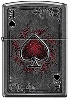 Zippo Custom Lighter Design Dark Red Ace of Spade Card Windproof Collectible - Cool Cigarette Lighter Case Made in USA Limited Edition & Rare