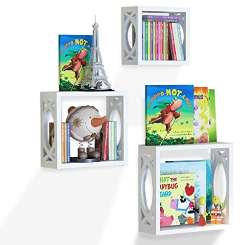 brightmaison Childrens Square Cube Wall Shelves – Varying Sizes 3 Set Shelf – Nursery Room Wall Mount White Floating Wood Box Display Kids Favorite Books, Photos, and More