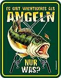 RAHMENLOS Original Blechschild für den Angler: es gibt Wichtigeres als Angeln, nur was?