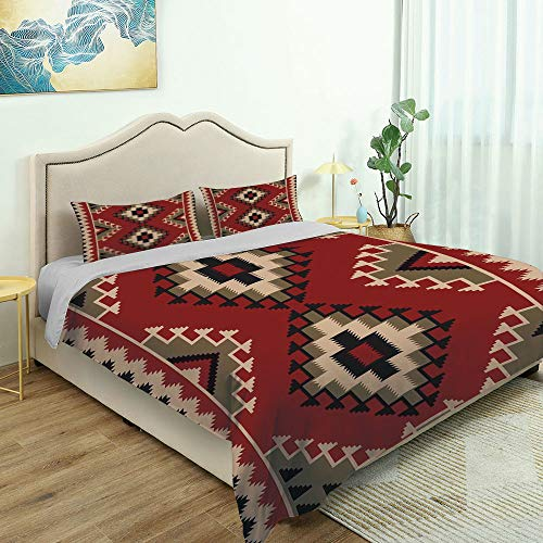 SUPNON 3 Piece Bedding Set 3D Printed Quilts Cover with 2 Pillow Cover, Afghan, Middle Eastern Folklore Pixel Art Queen/King Size Bedding Sets No5000 - King Size