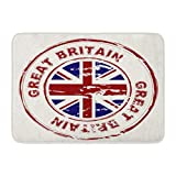 Alfombras de baño Alfombras de baño Alfombrilla para Puerta Exterior / Interior Blue Jack Gran Bretaña Tinta Sello de Goma Bandera de la Unión Inglaterra roja Decoración de baño Vintage Alfombra Alfo