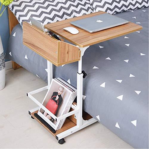 UKMASTER Laptop Tisch 2 Etagen Betttisch 59-89cm höhenverstellbar Schreibtisch beweglich Beistelltisch Holz Pflegetisch 50x40cm Laptopständer für Bett und Sofa