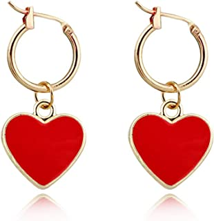 XCFS 3D Red Heart Charm Tassel Earring 18K Gold Plated Red Love Heart Dangle Hook Earring For Women Girls