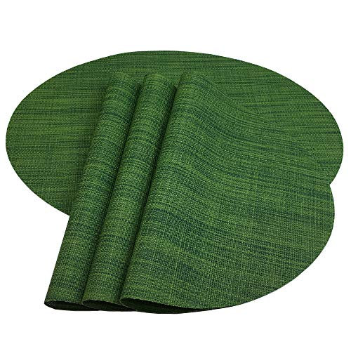 Red-A Placemats, Imitation Bamboo Oval Woven Vinyl Heat Resistant Placemats Washable Table Mats for Kitchen Table. (Set of 4, Hunter Green)