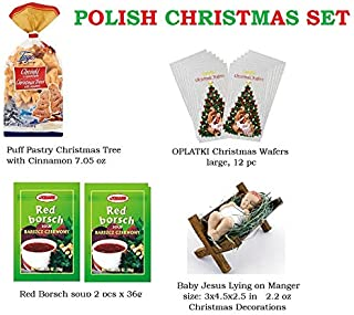 CHRISTMAS SET, OPLATKI Traditional Christmas Wafers 12 pc, Baby Jesus Christmas Decirations, Christmas Tree cookies, Red Borsch Polish Traditional soup 2 pc, Made in Poland