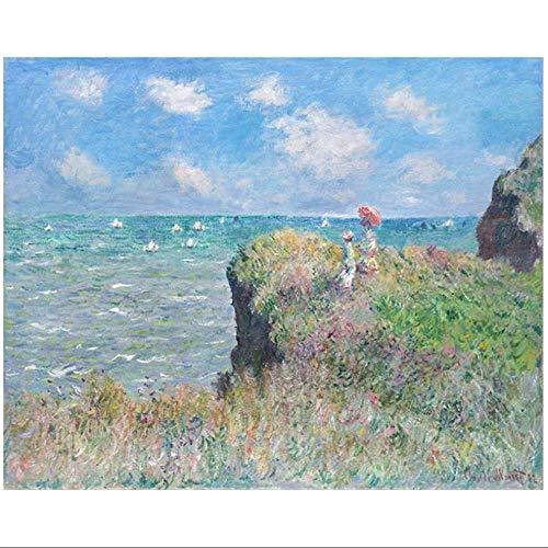 XingChen Quadro su Tela 50x70 cm Senza Cornice Famosa Passeggiata sulla scogliera a Pourville Claude Monet Impressionista Poster e Stampa Wall Art Pictures Home Decor