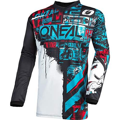 O'Neal | Camiseta de Motocross Manga Larga | MX Enduro | Protección Acolchada para los Codos, Cuello en V, Transpirable | Camiseta Element Ride para Hombres | Adultos | Negro Azul | Talla L