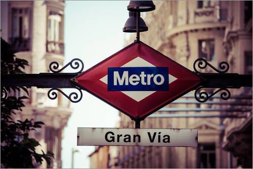 Posterlounge Lienzo 60 x 40 cm: Metro Sign