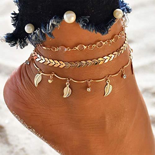 Bohend Boho Pulsera para el tobillo Oro Estrella Pulseras de tobillo Multicapa playa Cadenas de pie Accesorios de joyería para mujeres y niñas