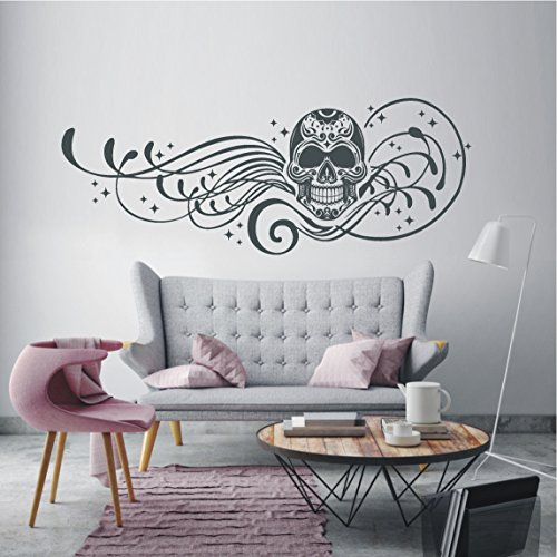 HomeTattoo ® WANDTATTOO Wandaufkleber Skull Ranke Totenkopf Sterne Ornament Tattoo 488 XL ( L x B ) ca. 58 x 152 cm (silbergrau 090)