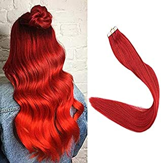Full Shine Silky Straight Tape Hair Extensions 10pcs 25g Red Tape In Hair Extension 18inch Remy Human Hair For Highlight Hair Cut