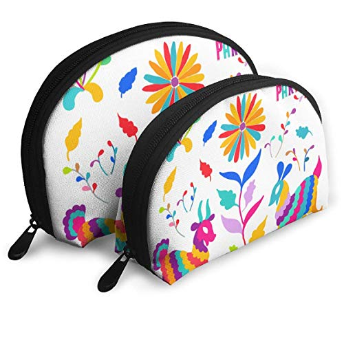 Folk Mexican Otomi Style The Arts Pouch Zipper Toiletry Organizer Travel Makeup Clutch Bag Portable Bags Clutch Pouch Storage Bags
