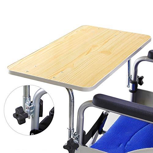 SHIYN Rollstuhl-Tischablage, Holz Rollstuhl Tisch mit Zwei Bowl-Halter, für Gastronomie und Schreibhilfe Rollstuhl Therapietisch, Rollstuhlzubehör