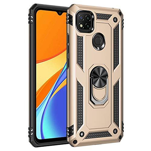 BestST Funda para Xiaomi Redmi 9C, con Anillo Soporte, Antigolpes Rígida Robusta Carcasa Resistente al Impacto Militar Duradera Blindada Fuerte de Seguridad con HD Protector Pantalla,-Oro