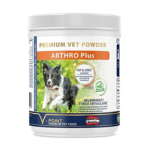 V-POINT Arthro Plus para perros en caso de dolor articular, artrosis premium, hierbas en polvo con corteza de sauce (250 g)