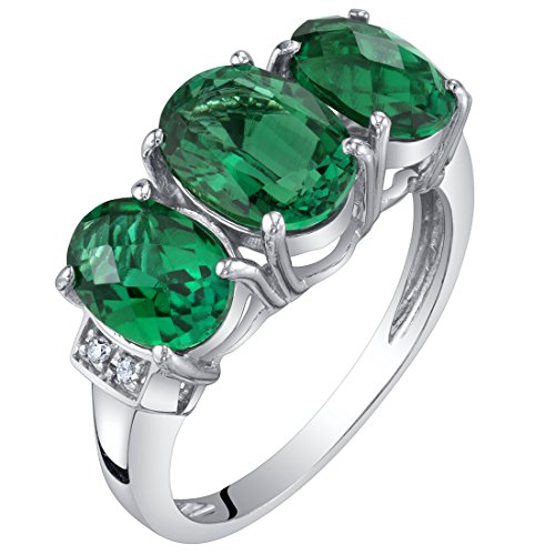 14K White Gold Created Emerald and Diamond Three Stone Triune Ring 2 Carats Size 6