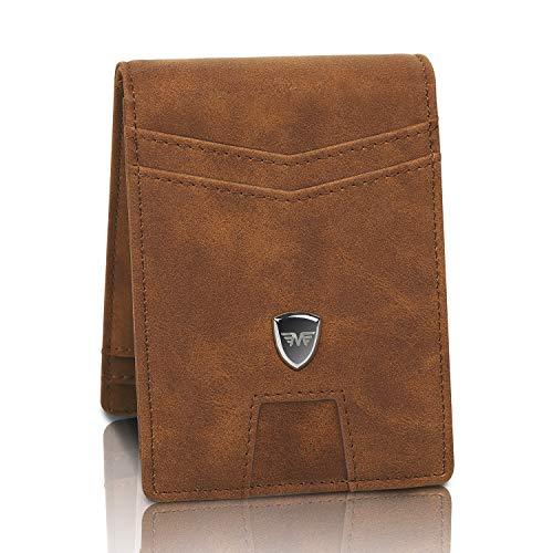 Männer Geldbeutel mit Geldklammer, Geldbörse für Herren, Portmonnaie, Sichtfenster bis zu 13 Karten Geldtasche, RFID Schutz Kreditkartenetui mit Münzfach, Mirakle Geschenkbox Retro (Brown)