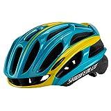 WANGSCANIS Casco de bicicleta para adultos, ligero flujo de aire, para ciclismo de carretera y montaña (amarillo, azul, talla única)