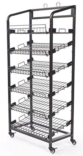 Displays2go Steel Baker's Rack with Wheels Six Wire Shelves, Black