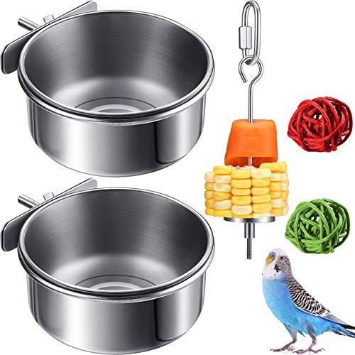 El Juego de comedero para pájaros de Acero Inoxidable Incluye 2 Tazas para Platos de alimentación de Loros, Cuencos de Agua para Alimentos con Abrazadera y 1 Soporte para Alimentos para pájaros y 2 b