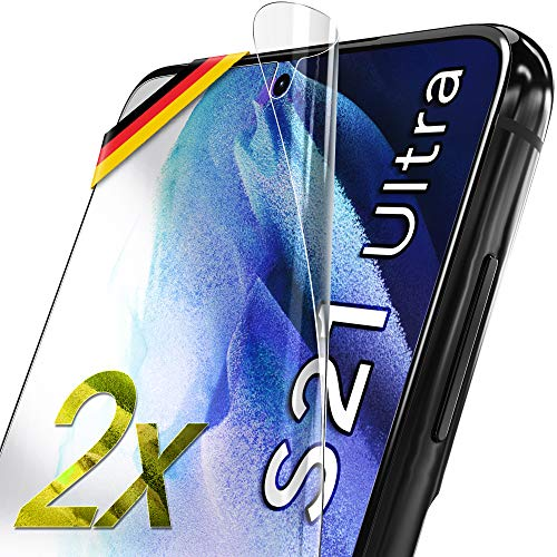 UTECTION 2X Schutzfolie für Samsung Galaxy S21 Ultra 5G - Fingerabdruck kompatibel - Premium Folie KEIN Glas - Hüllenfreundlich - Anti Kratzer Displayschutzfolie Ultra Clear - Schutz Displayfolie