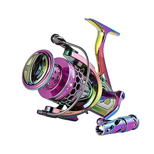 Eastleader Rueda giratoria de Hilo de Pescar, Color arcoíris Rueda de Pesca de mar de Metal Rueda de Hilo de Pesca de Gota de Agua 4.6: 1 17 + 1bb Equipo de Pesca Rueda giratoria de 18 Libras
