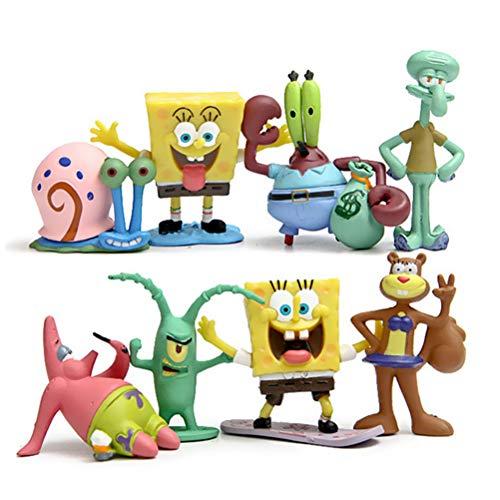YEKKU Cartoon-Puppen-Spielzeug, 8 Stück, Anime-Figur, Puppe, Spongebob, Cartoon-Puppe, Spielzeug, niedliche Oktopus-Figur, Ornament, Auto-Ornament, Kinder, Geschenk für Urlaub