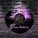 CVG 1Piece Gone Fishing LED Lámpara de Pared Fisherman Sign Fish Rod Hook Fish Vinyl Record Reloj de Pared Fishmen Iluminación Decorativa