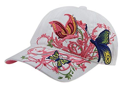 Casquette de Baseball Visière en Coton Anti-UV Papillon Brodé Chapeau de Soleil Plage Camping Pêche Randonnée Golf Réglable Protection Solaire Hip-Hop Sun Cap Sport pour Enfants Garçons Filles