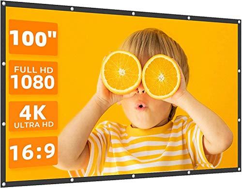 VANKYO 5A0004 Pantalla para proyector, tela de proyección de 100 pulgadas, 16:9, soporta retroproyección, universal plegable para casa, jardín, mesa, fiestas, cine al aire libre