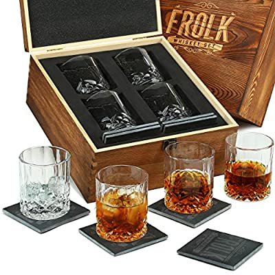 Whiskey Classic Glasses Set - 4 Extra Large Classic Old Fashioned Glasses with 4 Slate Coasters in Premium Wooden Box