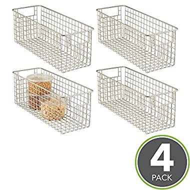 mDesign Household Wire Storage Organizer Bin Basket with Built-In Handles for Kitchen Cabinets, Pantry, Closets, Bedrooms, Bathrooms - 16  x 6  x 6 , Pack of 4, Satin