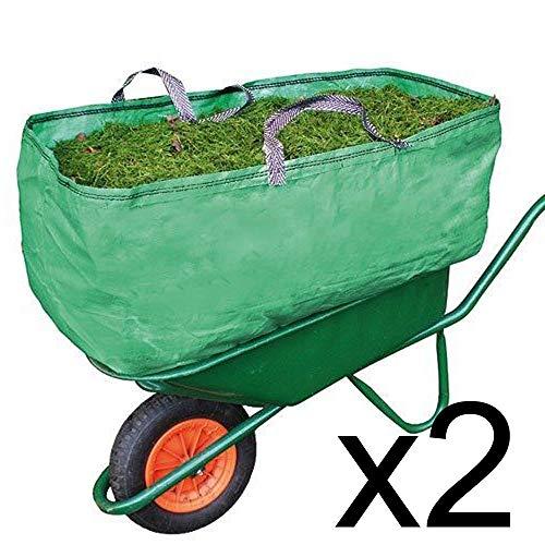 Spares2go - transporttas voor kruiwagens, voor tuin en boerderij, robuust, 270 l, 2 stuks